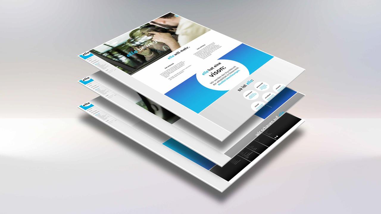ELLA AG Website, Mockup mit Teilansicht Vison