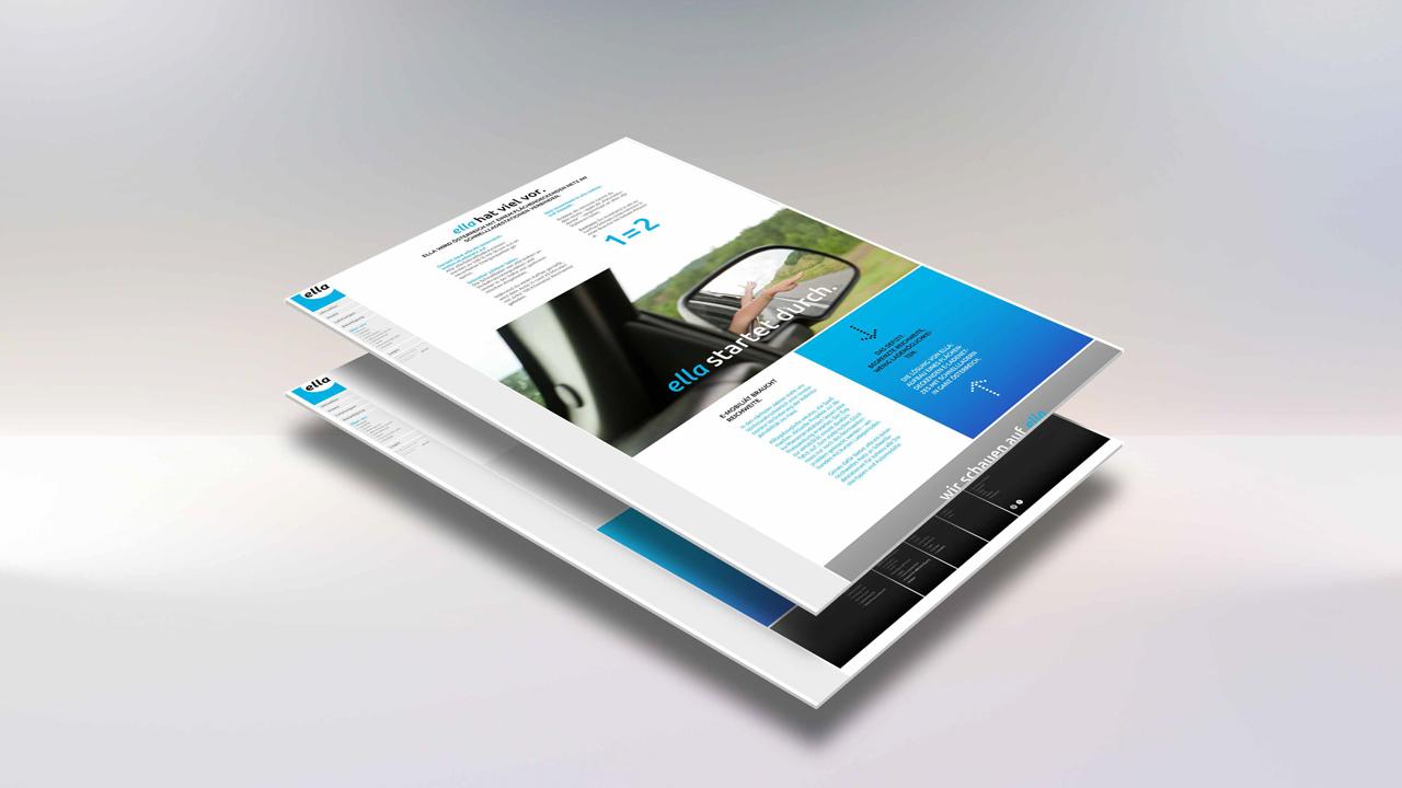 ELLA AG Website, Mockup mit Teilansicht Beteiligung