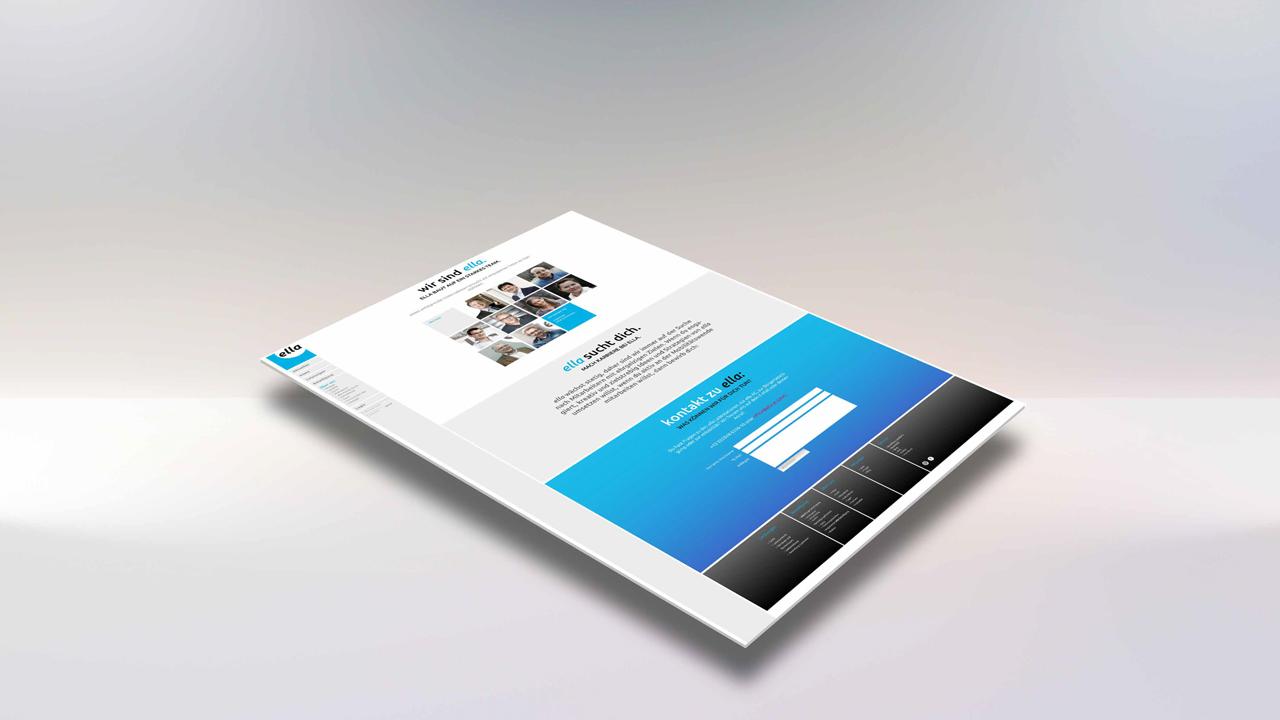 ELLA AG Website, Mockup mit Teilansicht Jobangebot