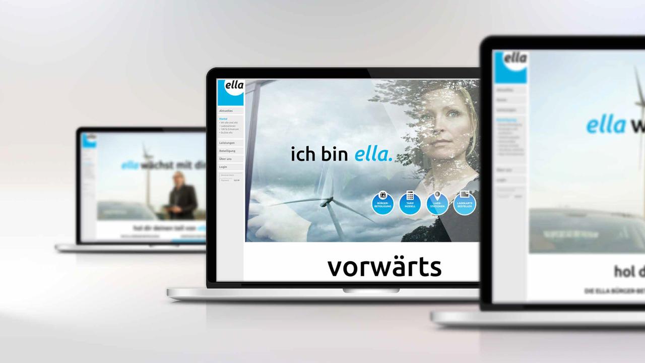 ELLA AG Website, Startseite zu sehen am Beispiel eines Laptops