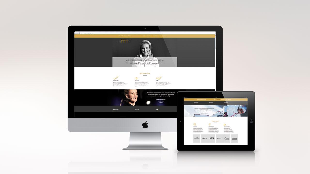 Alexandra Meissnitzer Website Onepager am Beispiel imac und ipad