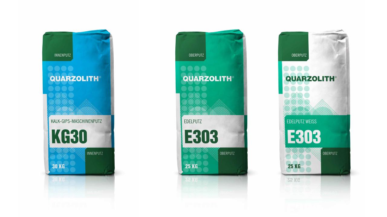 Quarzolith Packungsdesign für die Sackware: KG30, E303 und E303 weiß von vorne.