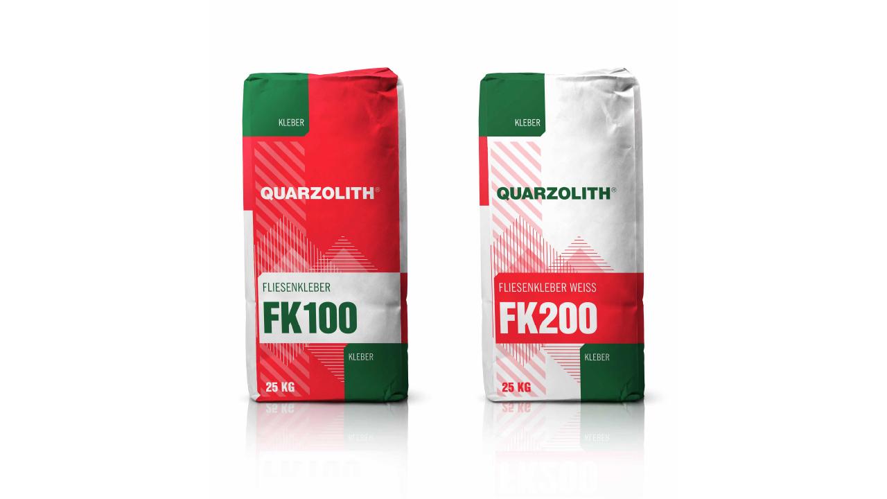 Quarzolith Packungsdesign für die Sackware: FK100 und FK200 von vorne.