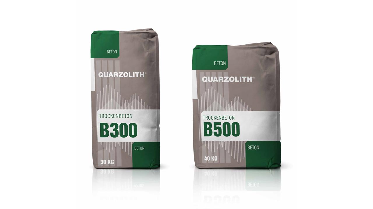 Quarzolith Packungsdesign für die Sackware: B300 und B500 von vorne.