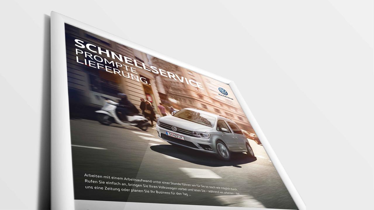 Volkswagen Schnellservice Poster für PKW, Teilansicht mit VW Caddy