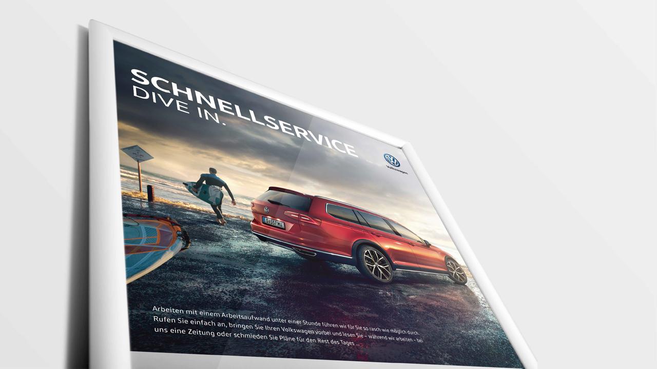 Volkswagen Schnellservice Poster für PKW, Teilansicht mit VW Passat