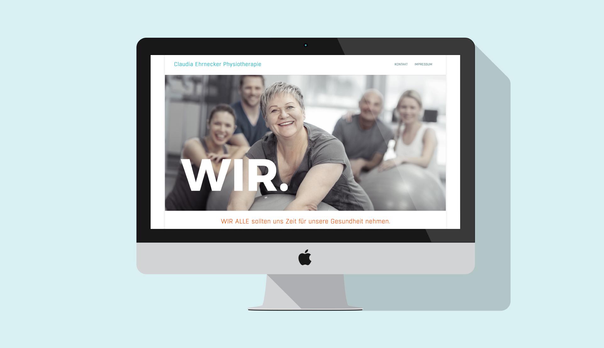 Website Physiotherapie und Ernährung am Beispiel Desktop